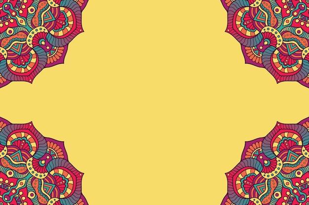 Цветочная красочная круглая рамка-орнамент