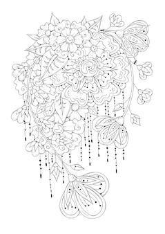抽象的な花と花の塗り絵の本のページ。