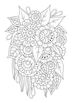 花のぬりえ。リニアアート。