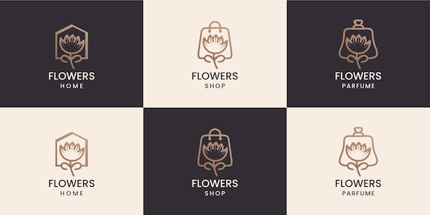 Flower combination with home shop and parfume shape logo design collection