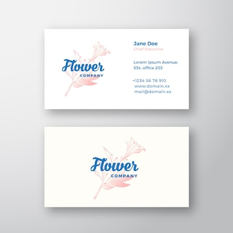 Flower company abstract  sign or logo and business card template.