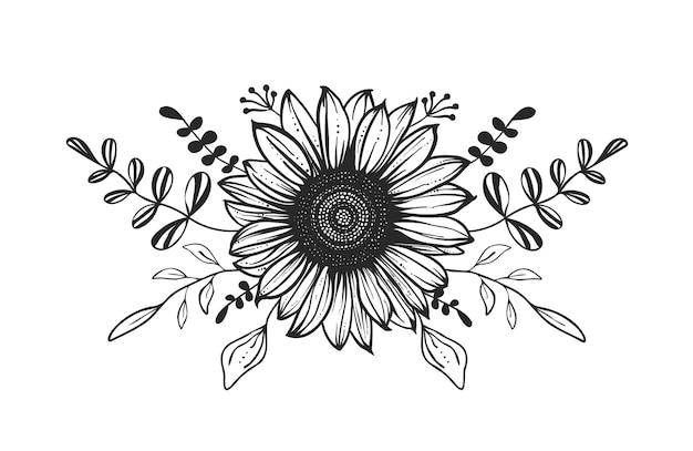 花の組成。手描きイラスト。ひまわり。