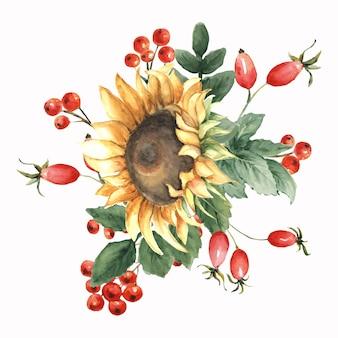 ひまわりの水彩イラストの花の構成。