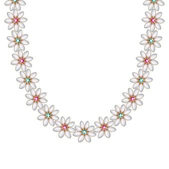 꽃 데이지 보석과 진주 체인 목걸이 또는 팔찌. 개인 패션 액세서리 민족 인도 스타일.
