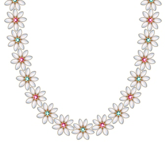 Flower daisy gemstones and pearls chain necklace or bracelet. personal fashion accessory  ethnic indian style.