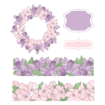 Flower decorative elements, frame and border