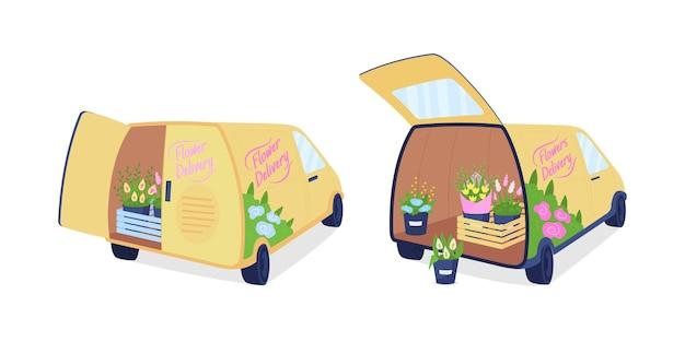 꽃 배달 밴 플랫 컬러 벡터 개체 집합입니다. 꽃꽂이 배송. 웹 그래픽 디자인 및 애니메이션 컬렉션을 위한 트렁크 격리된 만화 그림에 부케가 있는 트럭