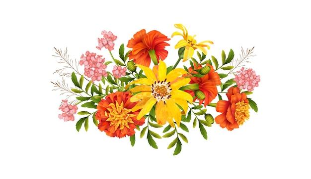 花のデザイン。白い背景の上の秋の花の美しい花束