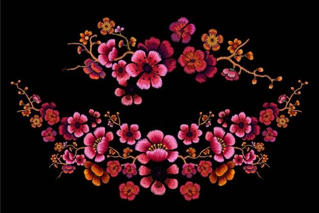 Flower design embroidery on black  illustration