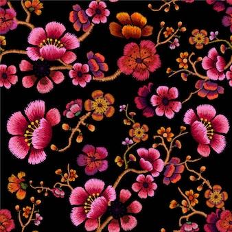 Flower design embroidery seamless pattern illustration