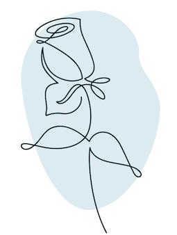 Flower design rose drawn in minimalist line style