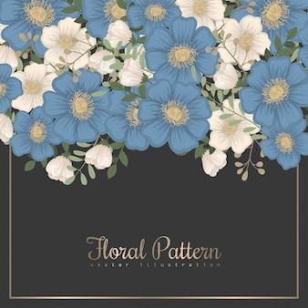Bordo di disegni di fiori - fiori blu