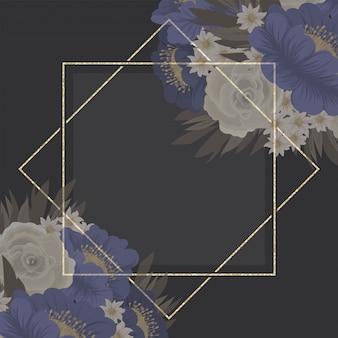 花柄ボーダー-青い花