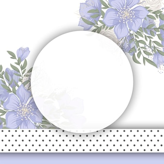 Flower designs border - blue flowers