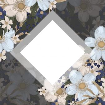 꽃 디자인 테두리-하늘색 꽃