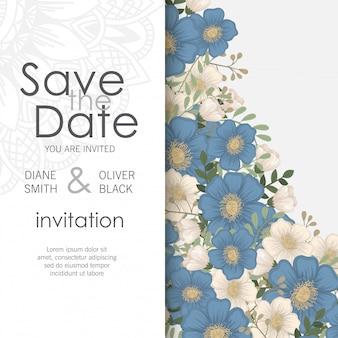 フラワーデザインボーダー-ライトブルーの花