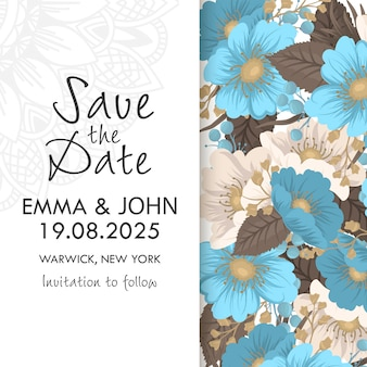 Flower designs border - light blue flowers