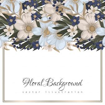 Flower designs border - light blue flowers