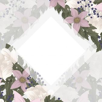 花柄ボーダー-ピンクの花
