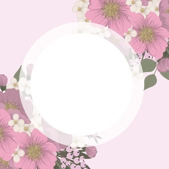 Flower designs border - pink flowers