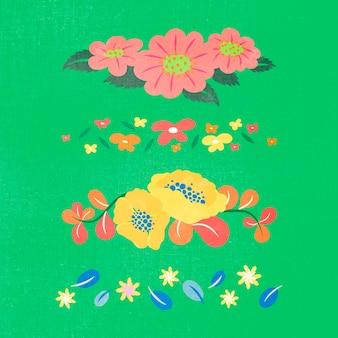 花の仕切り、カラフルなかわいいステッカーベクトルイラストセット