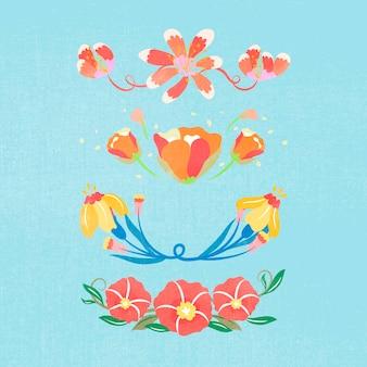 花の仕切り、カラフルなフラットデザインステッカーベクトルイラストセット