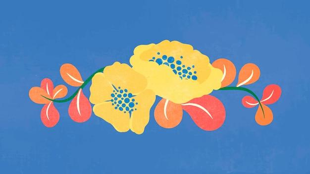 花の仕切り、ピンクのフラットデザインステッカーベクトルイラスト