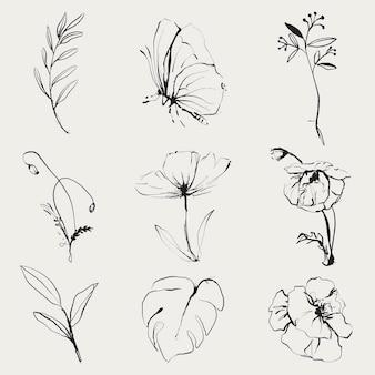 꽃 낙서 그림 벡터 세트, 빈티지 공개 이미지에서 리믹스