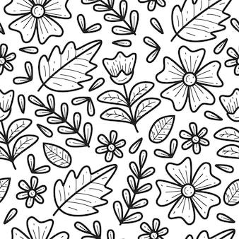Цветочный каракули бесшовный фон