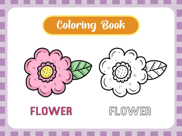 Flower drawing coloring book page for kids learning