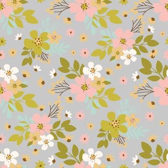 꽃 먼지 손으로 그린 꽃 휴가 만화 원활한 패턴 벡터 일러스트 섬유 인쇄