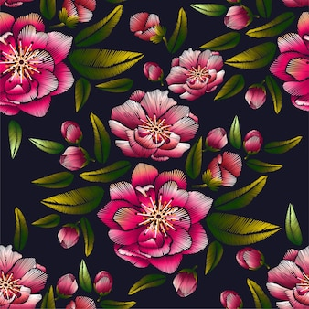 Flower embroidery with cherry blossom seamless pattern