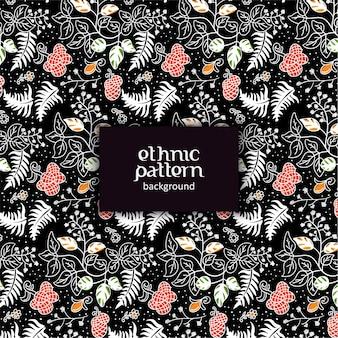 검은 배경에 꽃 민족 패턴