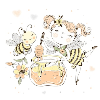 Flower fairy with a pot of honey and a cheerful bee.