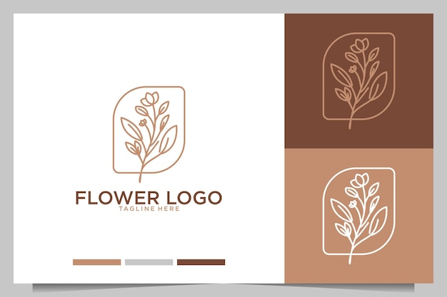 花フェミニンなラインアートの美しさのロゴデザイン