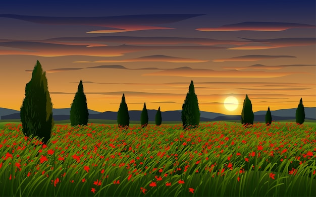 Flower field in cloudy sunset with trees