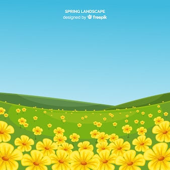 Flower field spring landscape