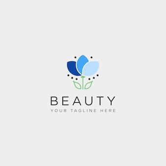 Flower floral line beauty premium simple logo template vector icon element
