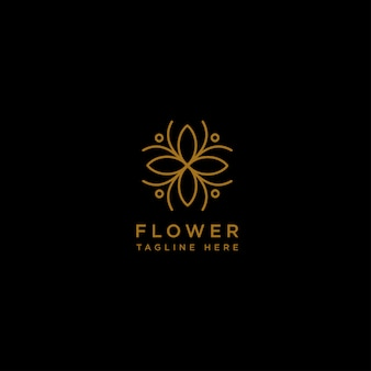 Flower floral line beauty premium simple logo template