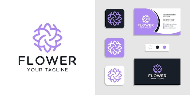 Flower floral logo and business card  template inspiration
