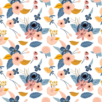 Flower floral print pattern background in retro vintage style
