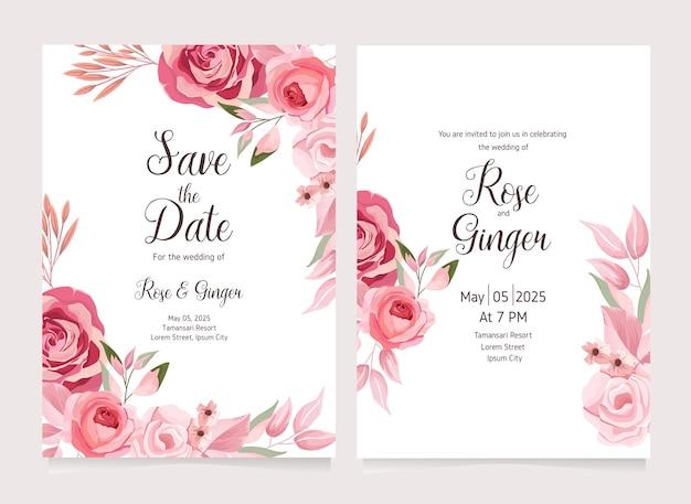 꽃 꽃 결혼식 초대 카드 서식 파일