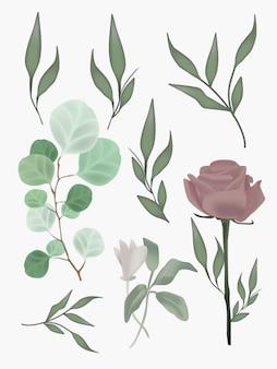 Flower foliage realistic mesh botanical illustrations set. graphic elements for wedding design, posters, postcards.