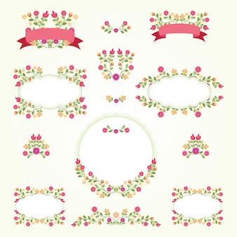 꽃 프레임 및 꽃다발 컬렉션