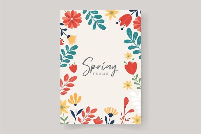 sfondo cornice floreale con design colorato di fiori primaverili