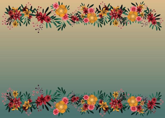 Flower and frame backgrounds vector illustration