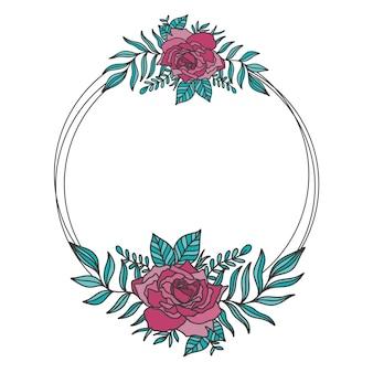 Цветочная рамка двойной раунд. цветочный круг границы ботанического стиля рисования.