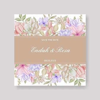 婚約結婚式の招待状のテンプレートの花のフレーム