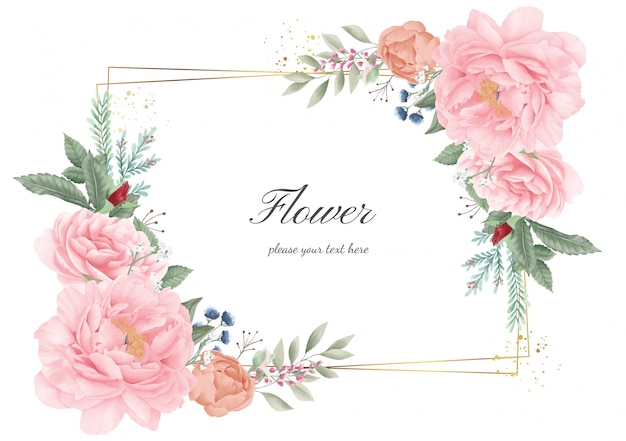 Flower frame golden pink peony. wedding flower invitation card. watercolor flora greeting.
