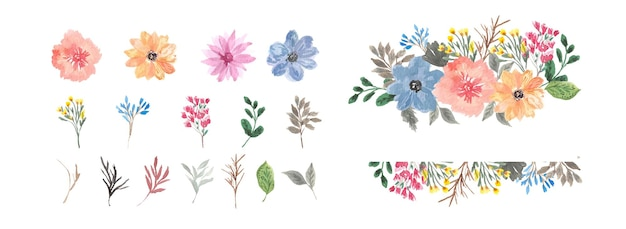 Flower frame and individual floral watercolor collection